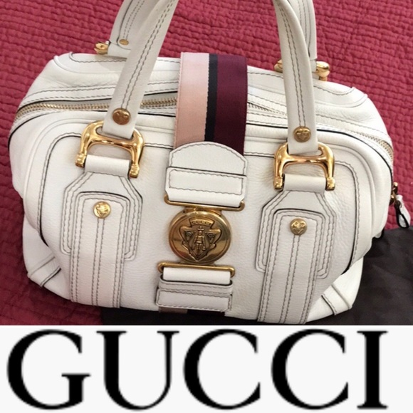 995ad42eaa33 Gucci Bags   Leather Aviatrix Medium Boston White Satchel   Poshmark